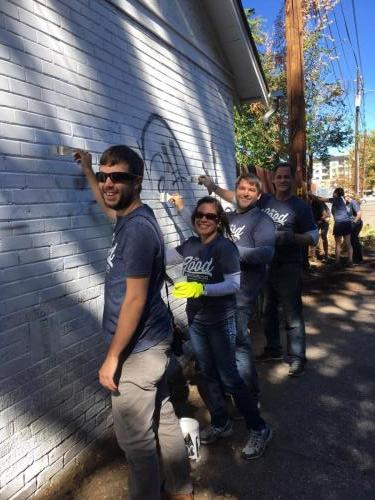 Graffiti removal at West Colfax Clean-Up Day